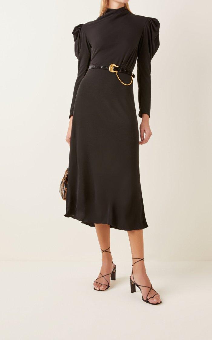 Solamente Tu Belted Draped Crepe Midi Dress