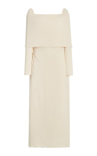 The Real Truth Off-The-Shoulder Crepe Tea Length Dress