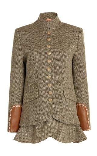 Equestrian Novelty Leather-Trimmed Wool Blazer
