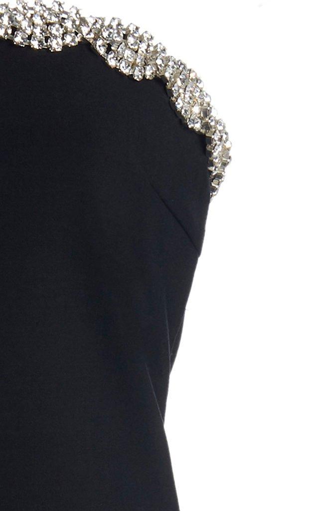 Crystal-Trimmed Strapless Crepe Dress