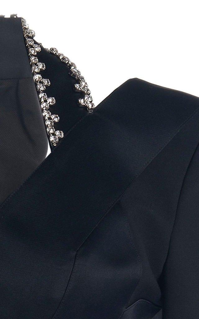 Crystal-Embellished Satin-Crepe Cutout Blazer
