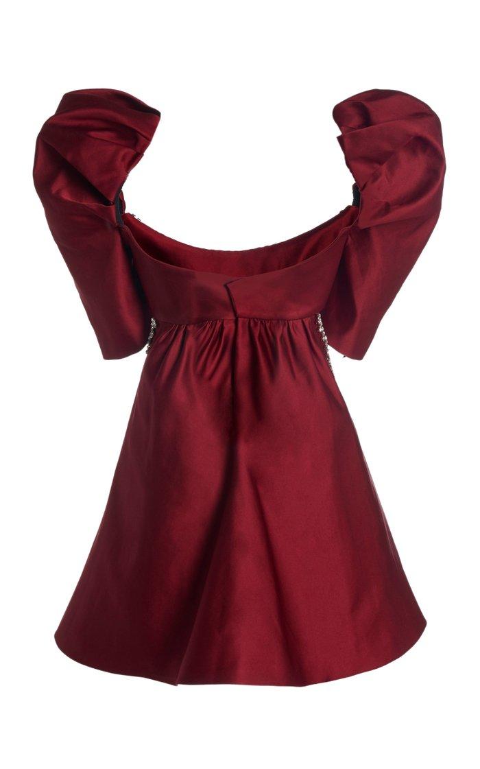 Crystal-Trimmed Satin Mini Dress
