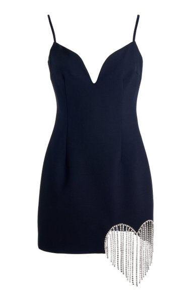 Crystal-Trimmed Wool-Crepe Mini Dress