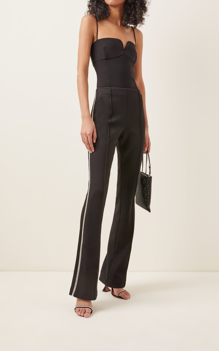 Crystal-Trimmed Stretch-Cotton Straight-Leg Pants