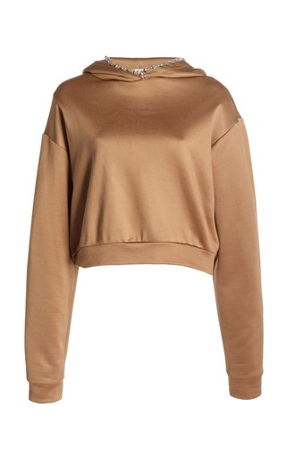 Crystal-Embellished Cropped Stretch-Cotton Hoodie