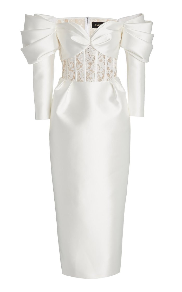 Exclusive Lace-Detailed Satin Off-The-Shoulder Midi Dress