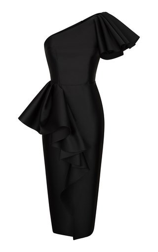 Ruffled Satin One-Shoulder Midi Dress