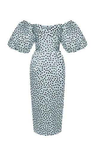 Polka-Dot Silk Organza Off-The-Shoulder Midi Dress
