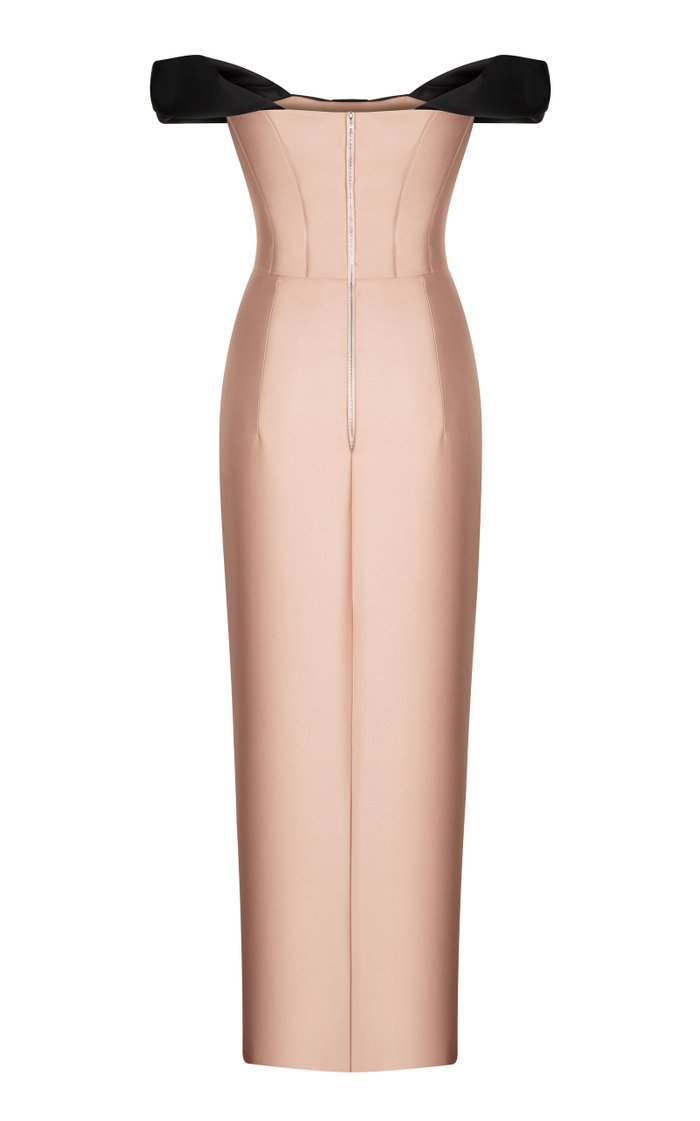 Bow-Detailed Satin Off-The-Shoulder Midi Dress