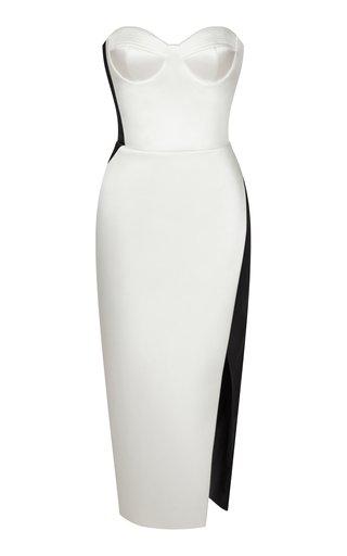 Two-Tone Satin Strapless Midi Dress