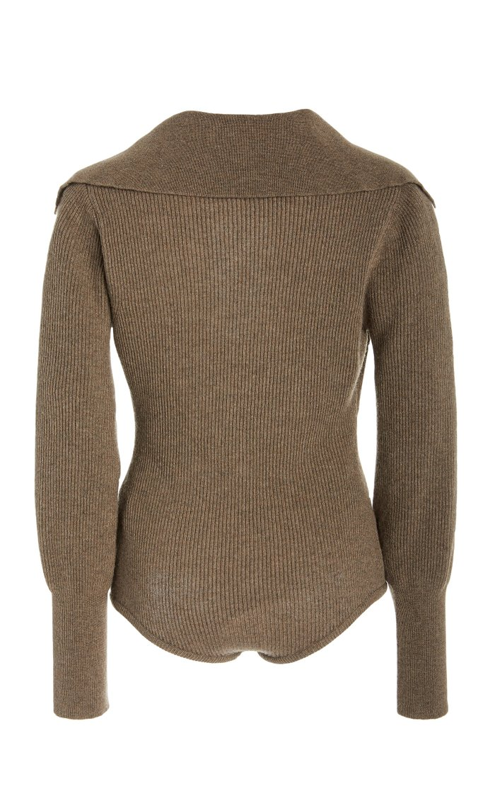 Dane Stretch Wool-Blend Ribbed-Knit Bodysuit