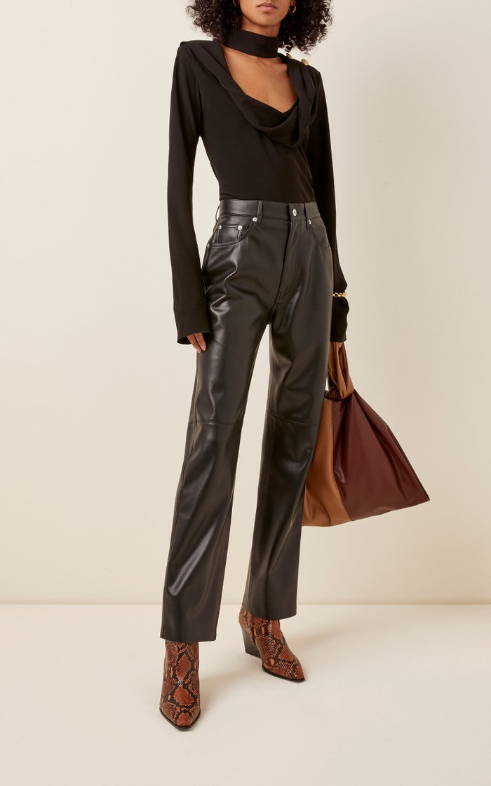 Vinni Vegan Leather Straight-Leg Pants
