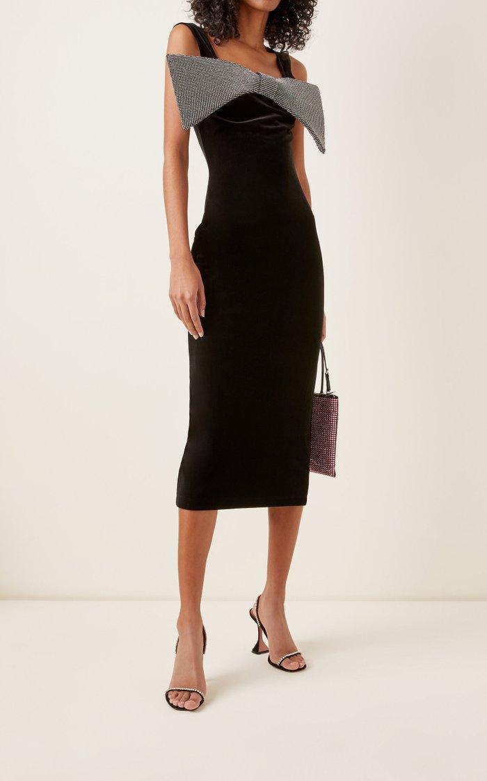 Bow-Accented Velvet Midi Dress