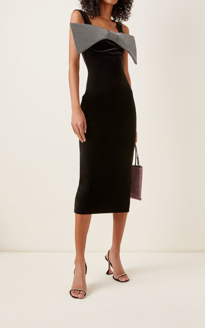 Bow-Accented Velvet Midi Dress