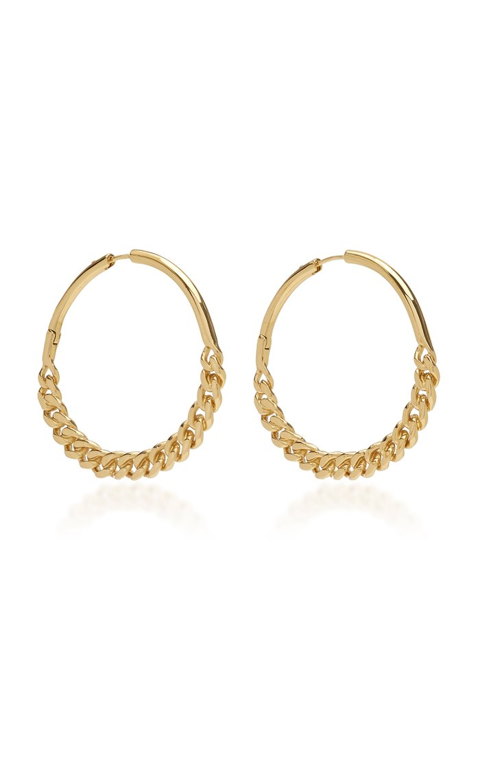 Cristy Chain-Detailed 12K Gold-Plated Hoop Earrings