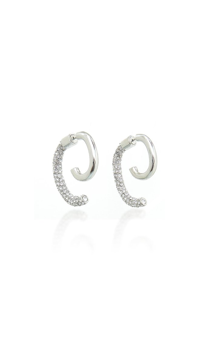 Luna Rhodium-Plated Crystal Earrings