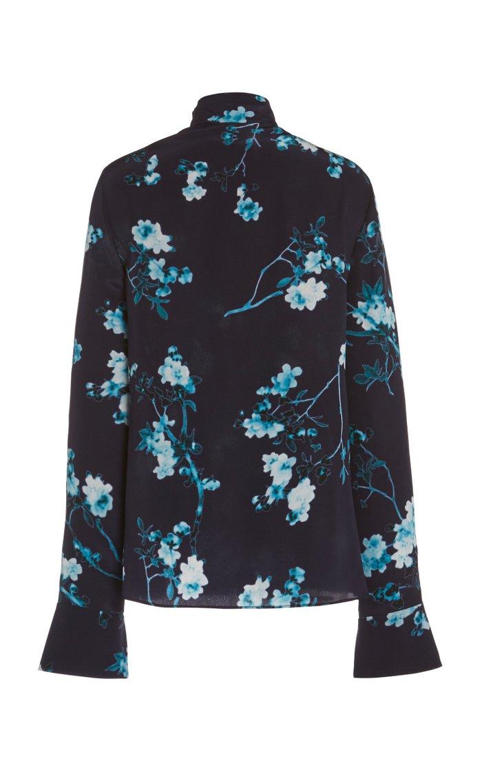 Marjorie Floral-Printed Silk Top
