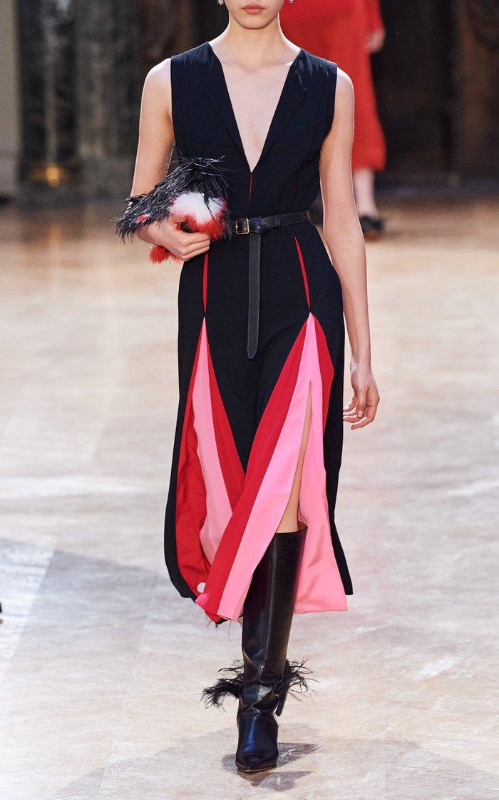 Ida Colorblocked Crepe Dress