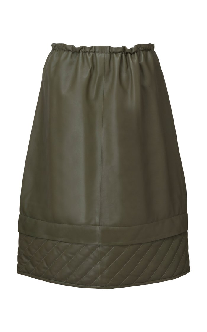 Piki Quilt-Detailed Leather Drawstring Midi Skirt