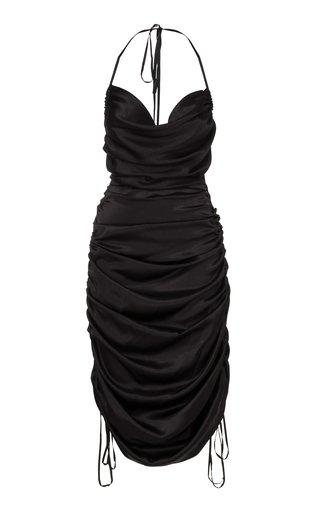 Merlyn Draped Silk Midi Halter Dress