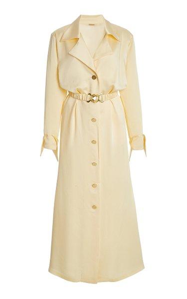 Tami Belted Satin Shirt Dress