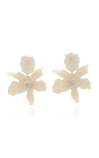 Lily Crystal-Embellished 14k Gold-Plated Acetate Earrings