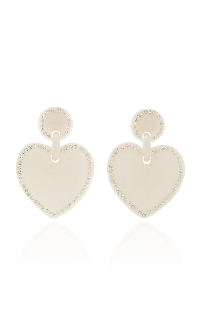 Crystal-Embellished Acetate Heart-Shaped Earrings