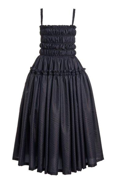 Alyssa Gathered Pinstriped Taffeta Midi Dress