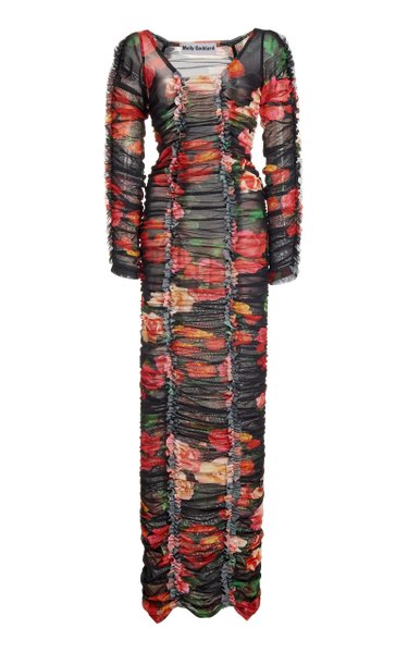 Roma Ruched Floral-Print Tulle Maxi Dress