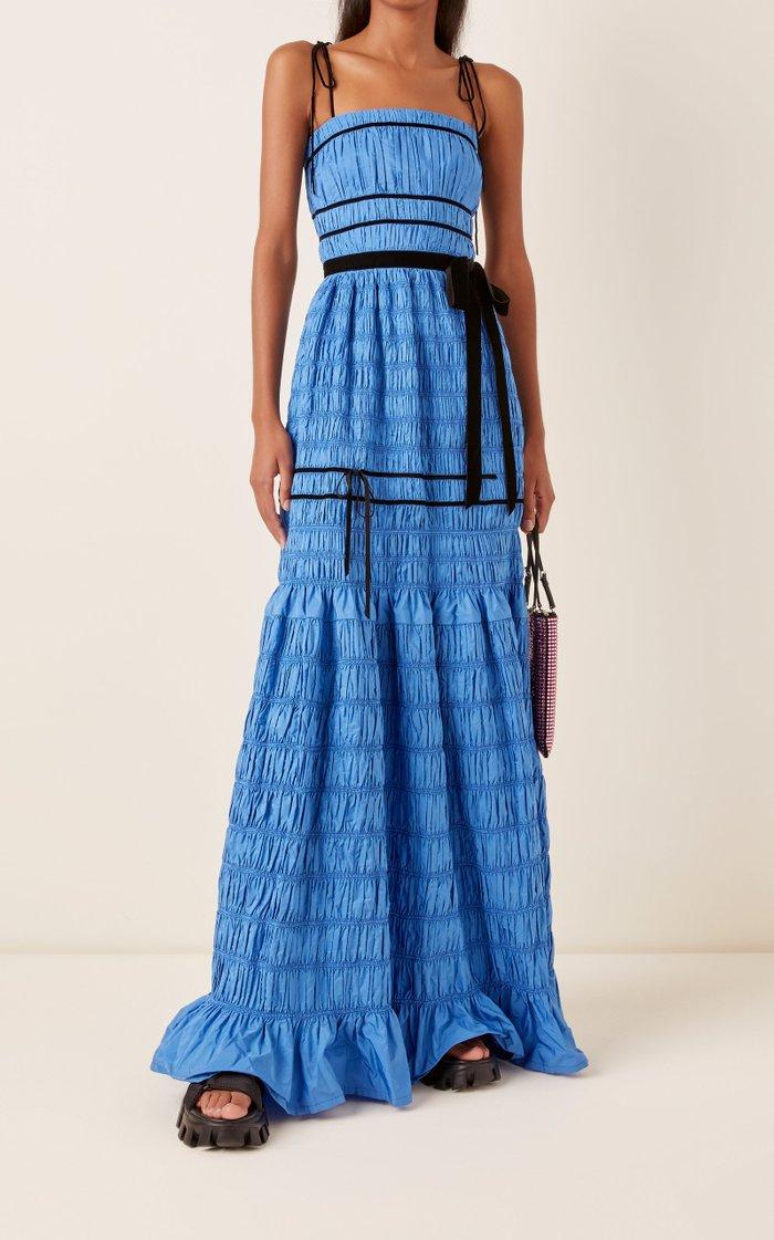 Minnie Ribbon-Detailed Smocked Taffeta Maxi Dress