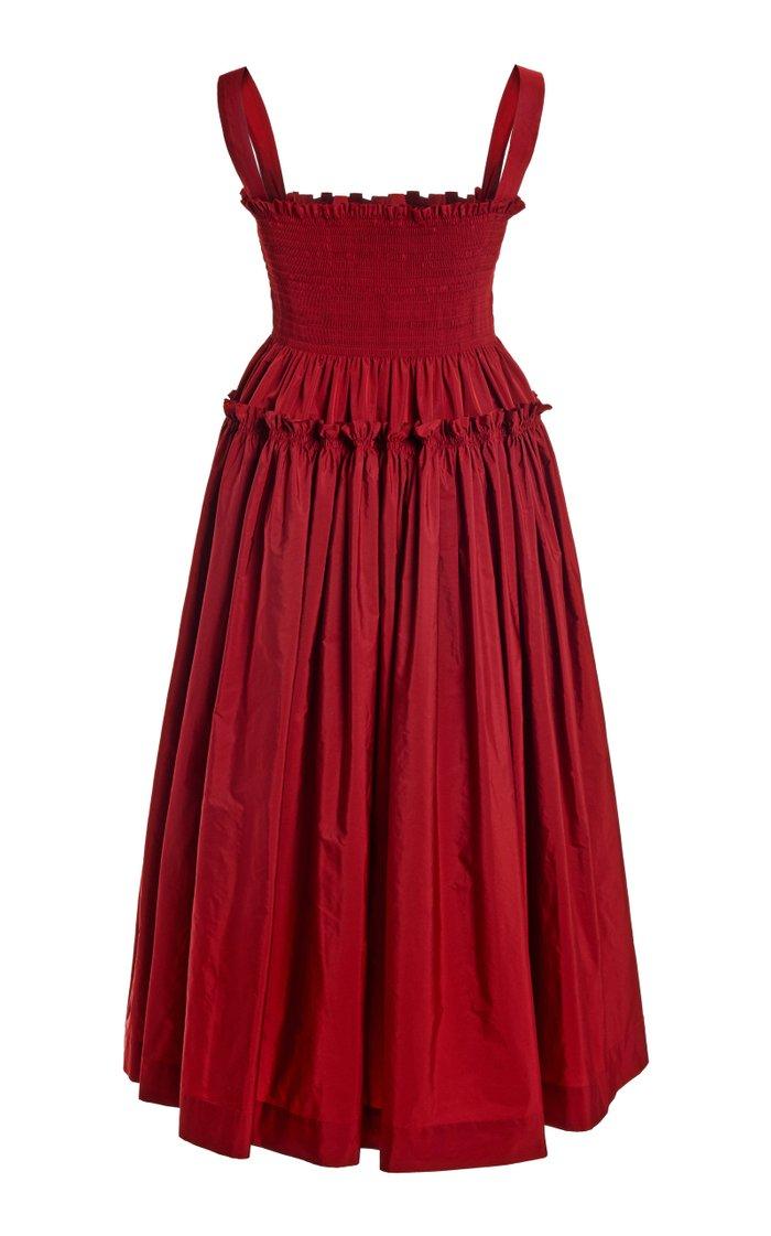 Kayla Smocked Taffeta Midi Dress
