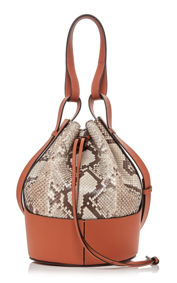 Balloon Small Python And Leather Shoulder Bag