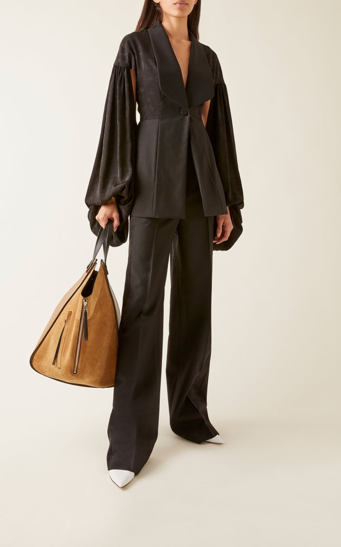 Hammock Leather-Trimmed Suede Tote