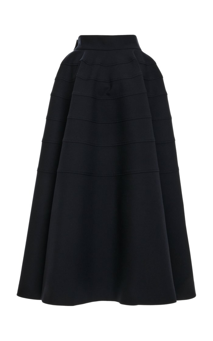 Tiered Wool Full Midi Skirt