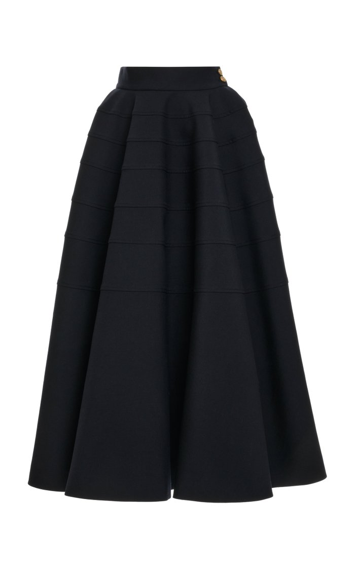 Tiered Wool Full Midi Skirt