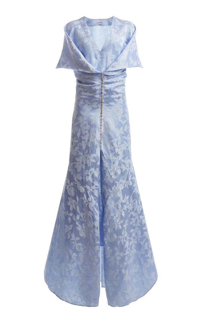 Cape-Sleeve Linen-Silk Jacquard Gown