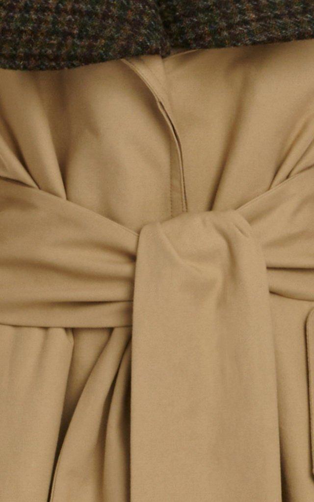 Check-Detailed Cotton Gabardine Trench Coat