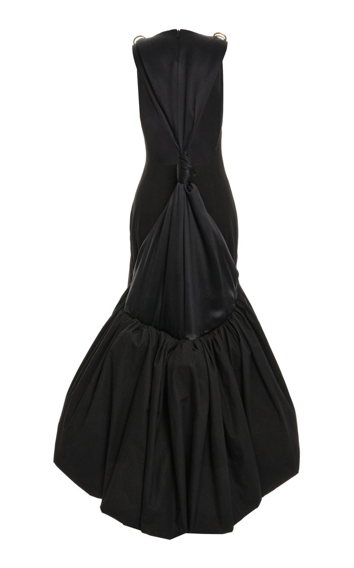 Draped Silk Satin And Taffeta Gown