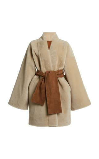 Reversible Belted Shearling Jacket