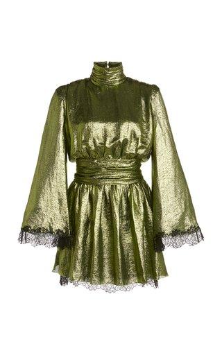 Lace-Trimmed Silk-Blend Lamé Mini Dress