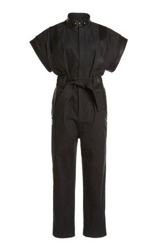 Belted Leather-Trimmed Denim Jumpsuit