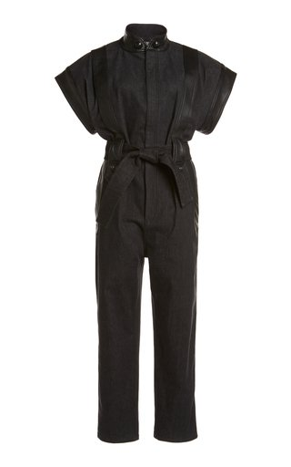 Belted Leather-Trimmed Denim Jumpsuit