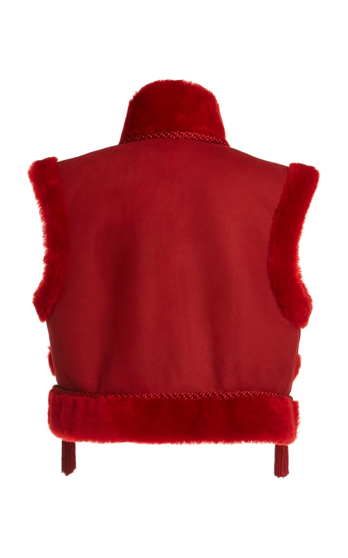Tassel-Detailed Shearling Vest
