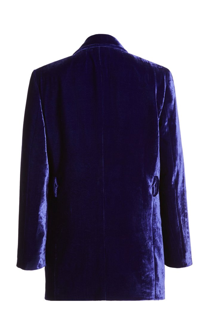 Velvet Double-Breasted Blazer