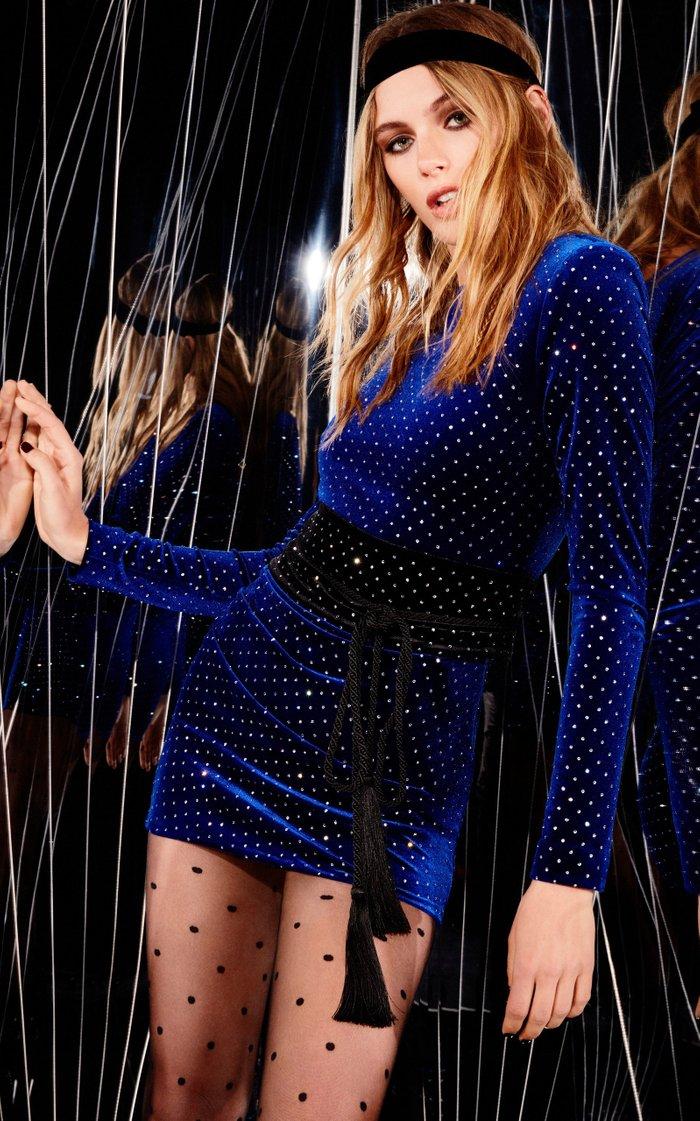 Crystal-Embellished Velvet Mini Dress