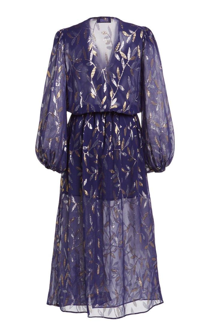 Metallic Fil Coupé Chiffon Midi Wrap Dress