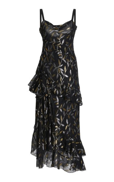 Ruffled Metallic Fil Coupé Chiffon Maxi Dress
