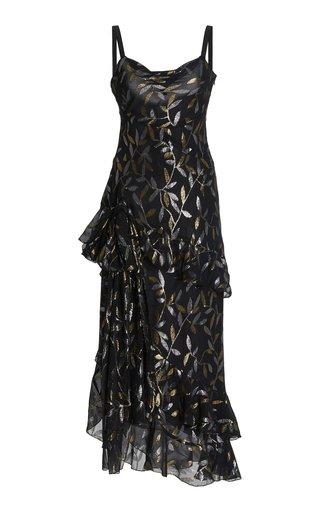 Ruffled Metallic Fil Coupé Chiffon Maxi Dress