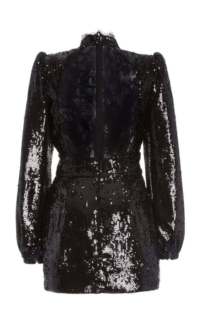 Lace-Detailed Sequined Mini Dress