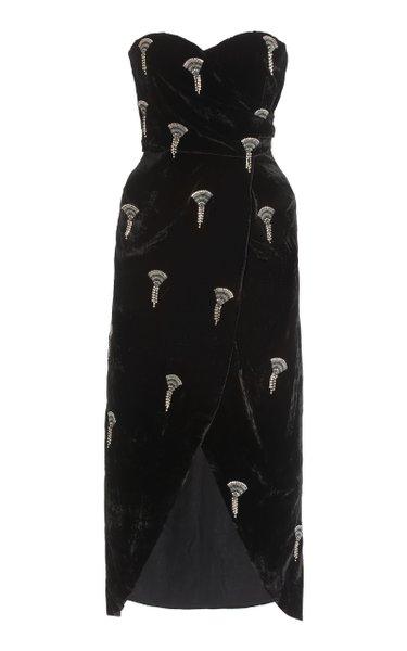 Embellished Draped Velvet Strapless Midi Dress